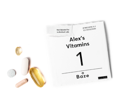 Alex's personalized vitamins and supplements packed in a daily dosed pack with 5 supplements
