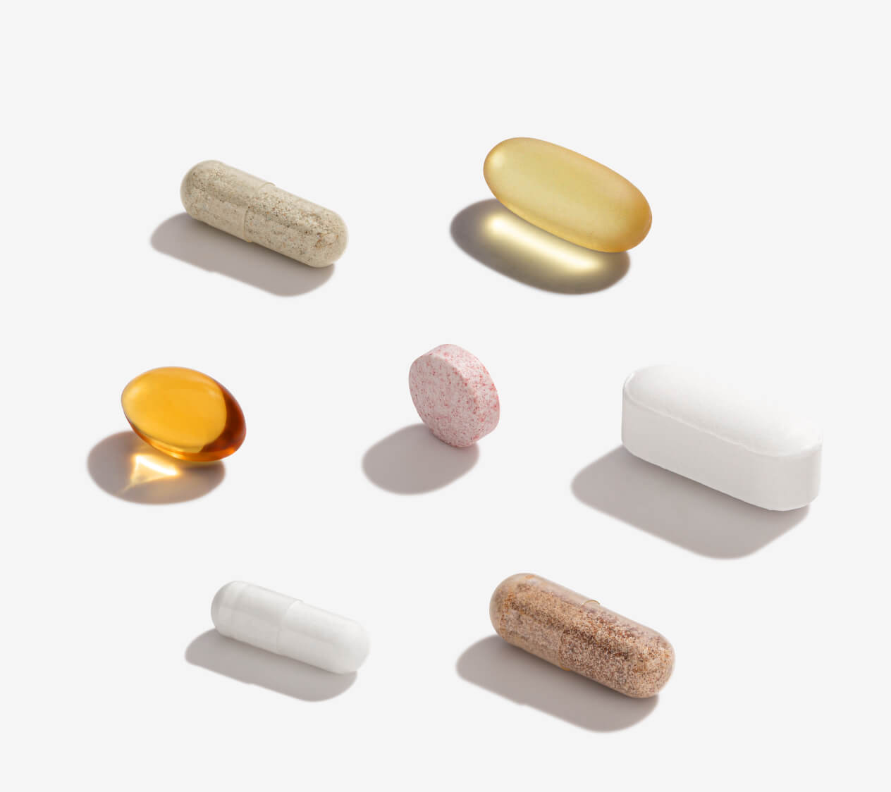 7 supplements lined up on a light background